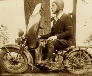 MOTORCYCLE HOODLUM GRANDPA, EARLY WWII ANGEL