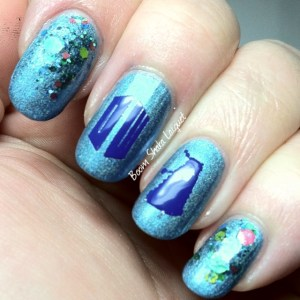 YouPolish Decals (over Blue Eyed Girl Lacquers - Ocean Warmed by the Sun with a reverse glitter gradient of Digital Nails - Wibbly Wobbly)