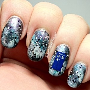 "Galaxy Mani with Digital Nails - Curie-ouser and Curiouser as the ""stars"""