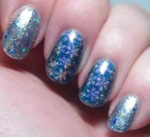 Alchemy Lacquers - Gilded Dreidel with Elevation Polish - Darkest Storm stamped with Cici & Sisi Christmas 2014