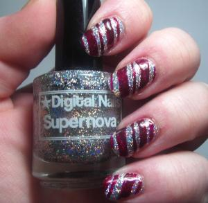 Digital Nails - Supernova with Gothic Gala Lacquers - Holiday Berries