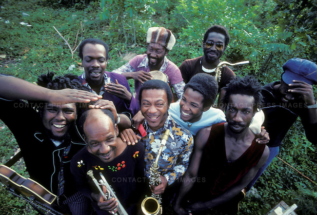 "The Black Disciples, Burning Spear's band. Top L to R: Vin Gordon, Noel ""Zoot"" or ""Scully"" Simms, Richard ""Dirty Harry"" Hall, Earl ""Chinna"" Smith; bottom L to R: Robbie Shakespeare, Bobby Ellis, Herman Marquis, Bernard Harvie, Leroy ""Horsemouth"" Wallace. Ocho Rios, Jamaica. March 1976"