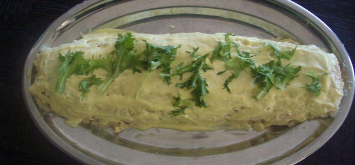 Braç de gitano de puré de patates, tonyina i maionesa