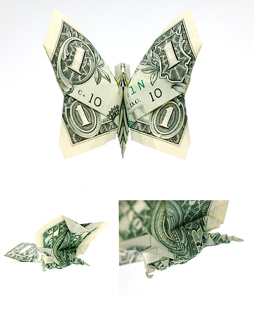 boooom origami dollar bill art