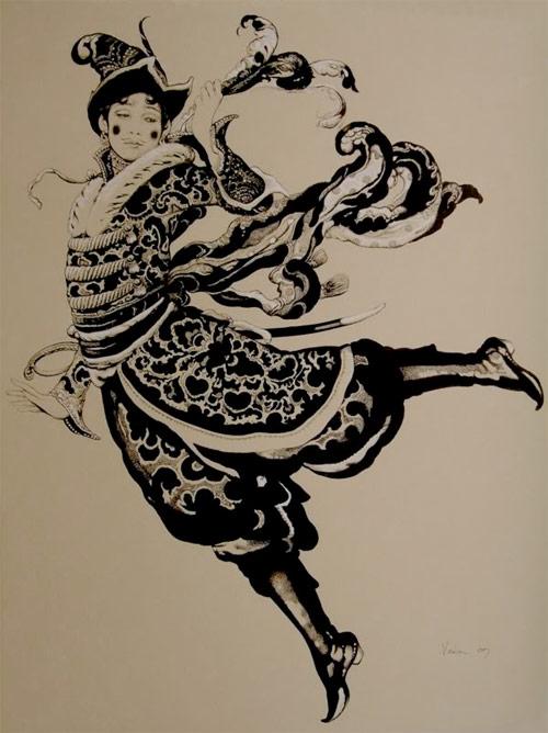 Vania Zouravliov exquisite costume flourishes sword and hat drawing