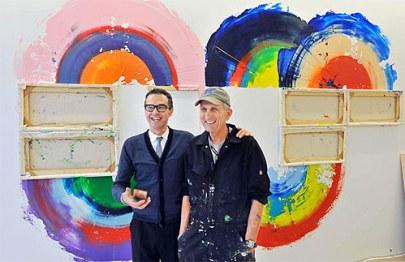 artista pintor pintura Richard Jackson bob rennie vancouver precipitado arma instalación de pintura de la lona como cepillo