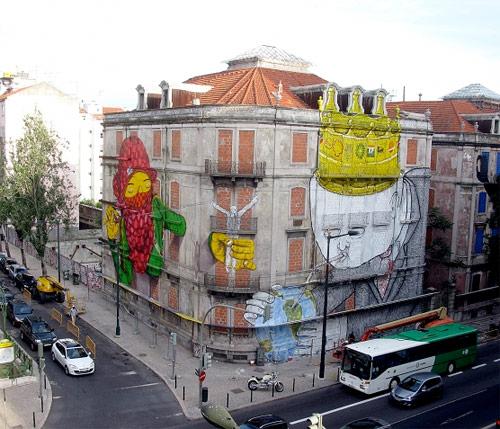 Os Gemeos and Blu mural in Lisboa Portugal