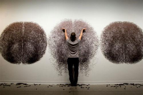 Performance drawings by artist dancer Tony Orrico