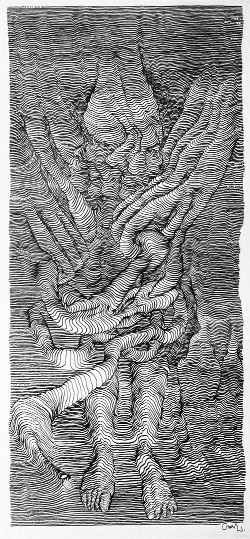 scroll drawings inside a car by artist carl krull