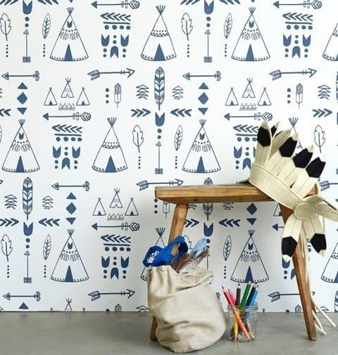 Hibou Home_Teepees wallpaper_Indigo & White_HH01001_b copy