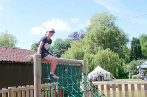 Taverham Mill - Roo on top of climbing frame