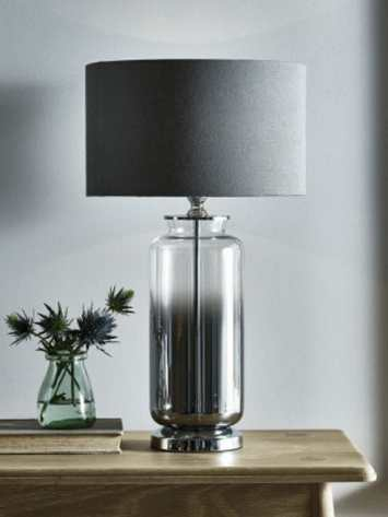 Grey Smoke Glass Table Lamp