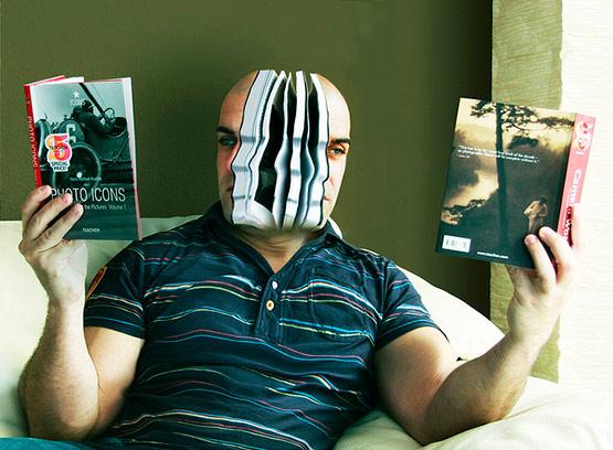 Photography Reading Books, Bizarre Photo Manipulation of Self Portrait