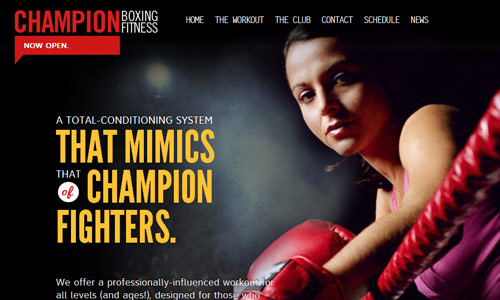 champion boxing fitness in 30 Excellent Black Website Designs for Inspiration