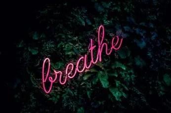 illuminated sign saying breathe