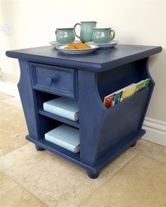 oak side table with paris stencil