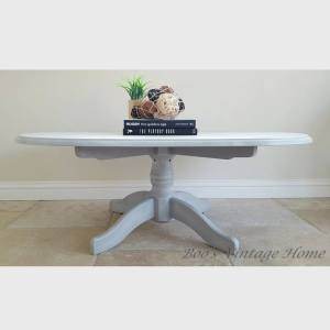 pine oval table grey