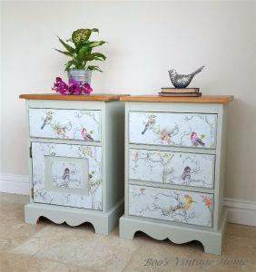 decoupaged bedside cabinets pine