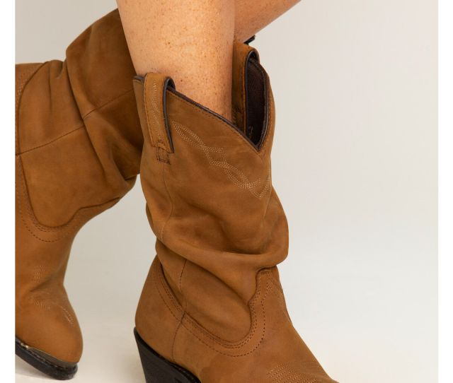 Shyanne Womens Slouch Fashion Western Boots Brown Hi Res
