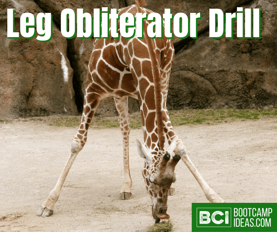 Image is of a baby giraffe eating grass off the ground with it's front two legs awkwardly positioned. Text on image says 'Leg Obliterator Drill' with the Bootcamp Ideas logo in the bottom right corner.