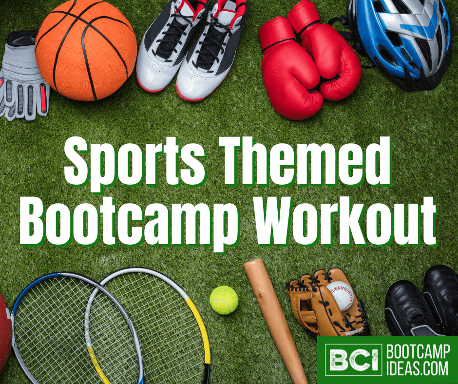 Image is of a variety of sport equipment layed out on green turf. The text on the image says 'Sports Themed Bootcamp Workout' and the Bootcamp Ideas logo is in the bottom right corner