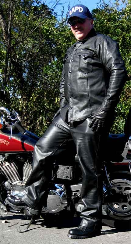 Booted Harleydude With His Old Harley