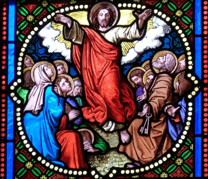 Stained glass window of ascension