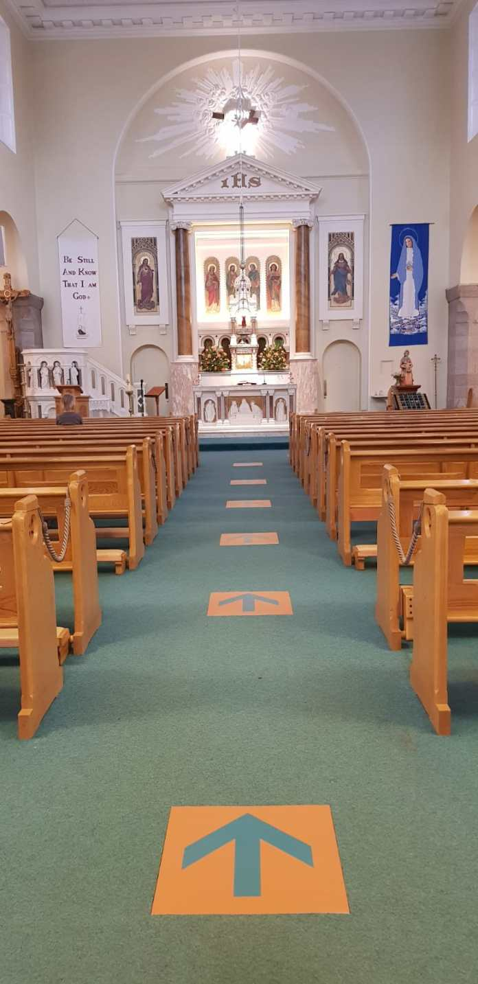booterstown parish interior with social distancing markings