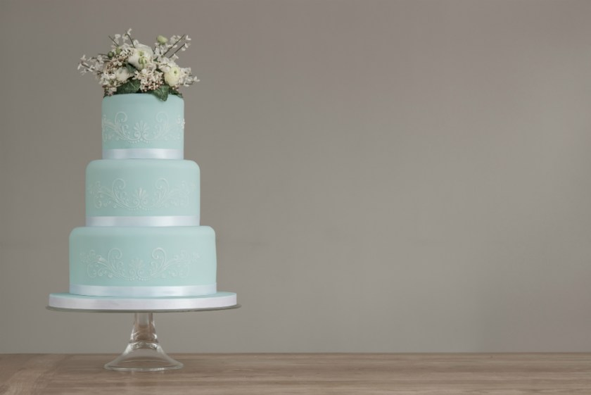 Duck egg blue lace stencilled wedding cake