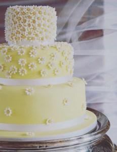 Daisy flower yellow wedding cake