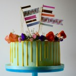Bright Yellow Drip Birthday Cake