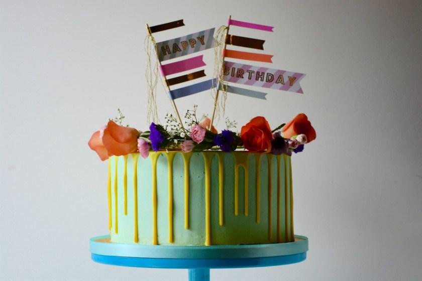 Bright Yellow Drip Birthday Cake