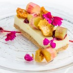 Ginger cheesecake with textures of rhubarb and honey