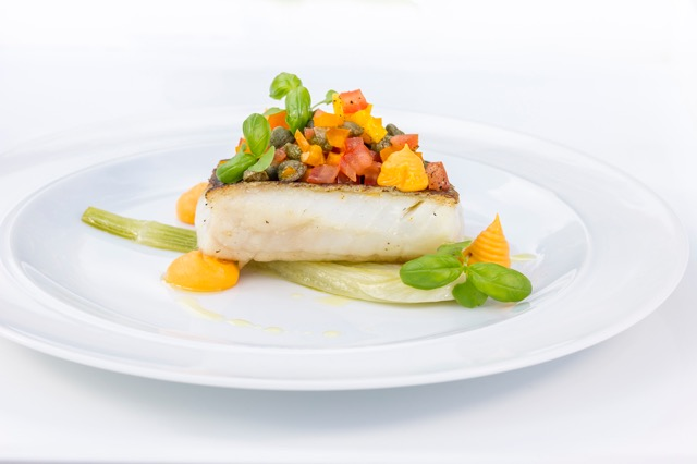 Fillet of Bream, braised fennel with sweet potato puree and sundried tomato salas