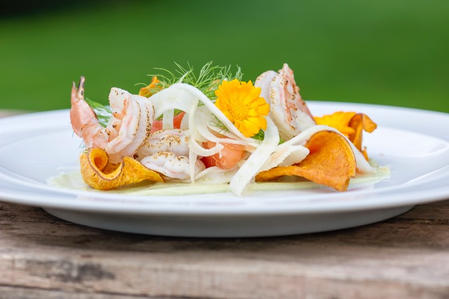 Grilled King Prawns with Fennel and Sweet Potato