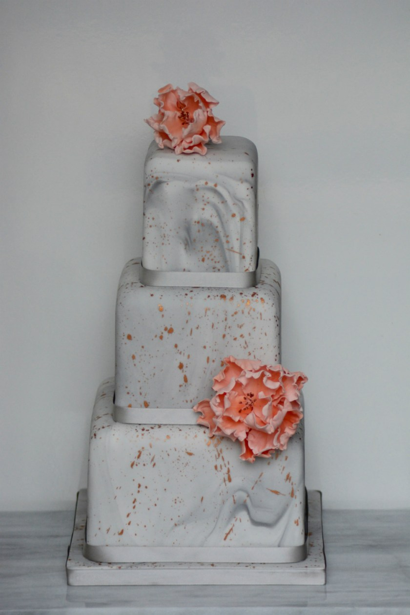 Marbled Grey and Bronze Wedding Cake