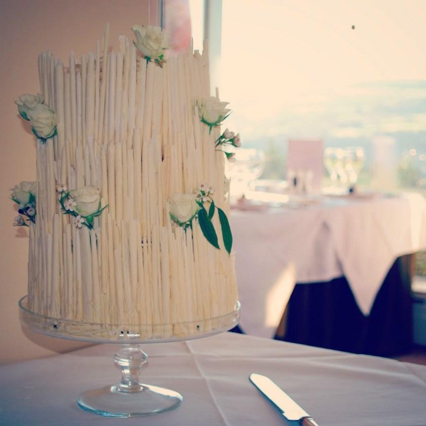 White chocolate cigarillo wedding cake