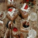 Luxury mini chocolate pots served in lidded jars