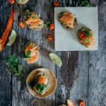 Avocado, chilli and smoked salmon crostini