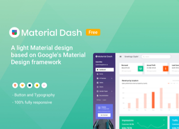 Material design dashboard template free