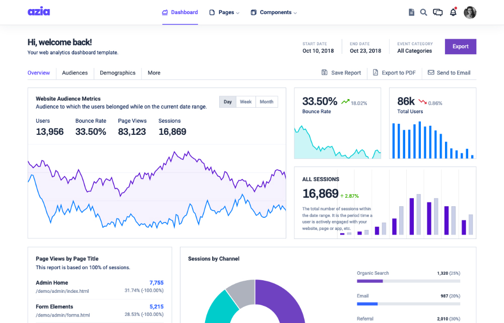 azia react free dashboard