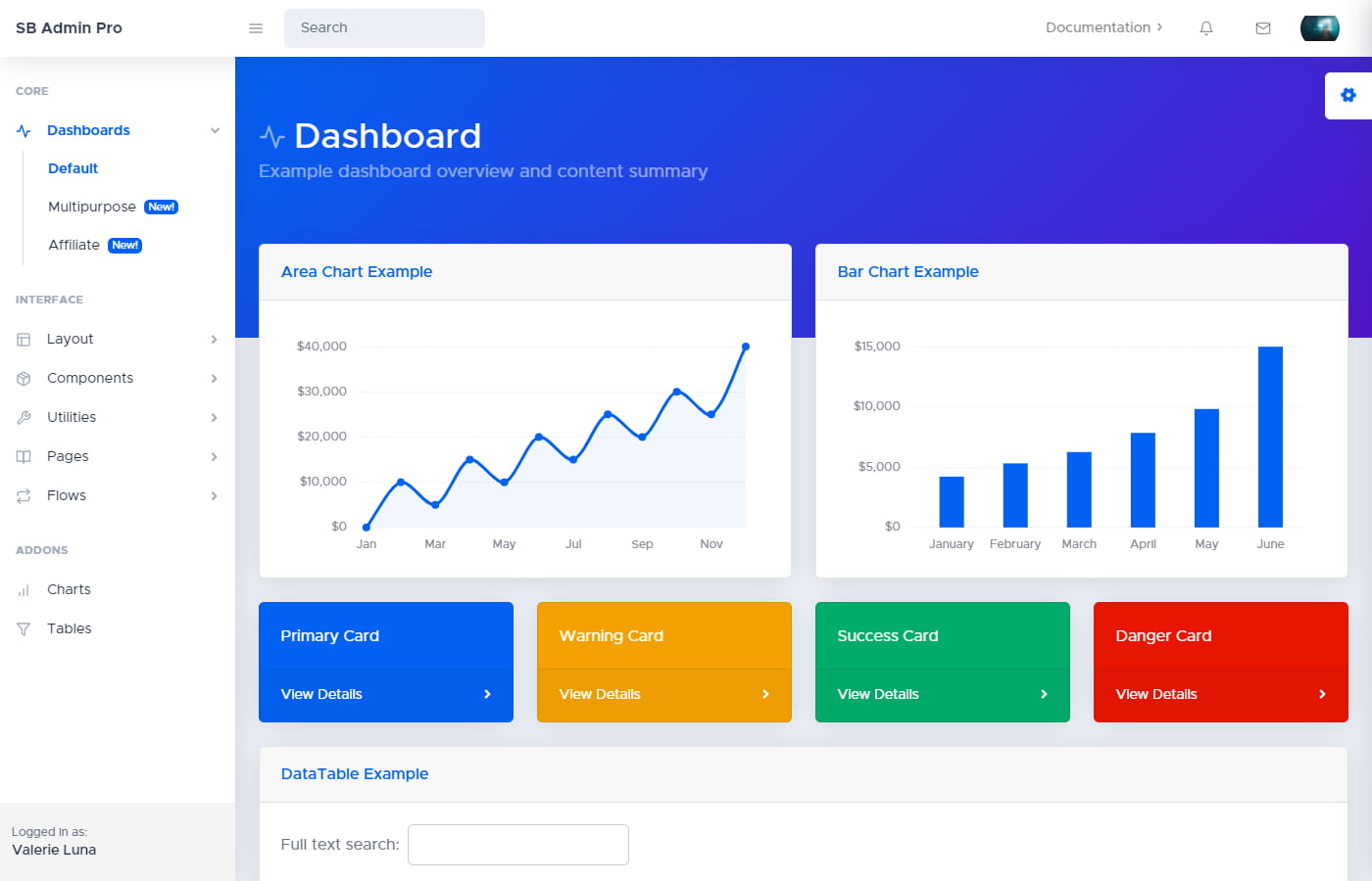 Preview of SB Admin Pro dashboard