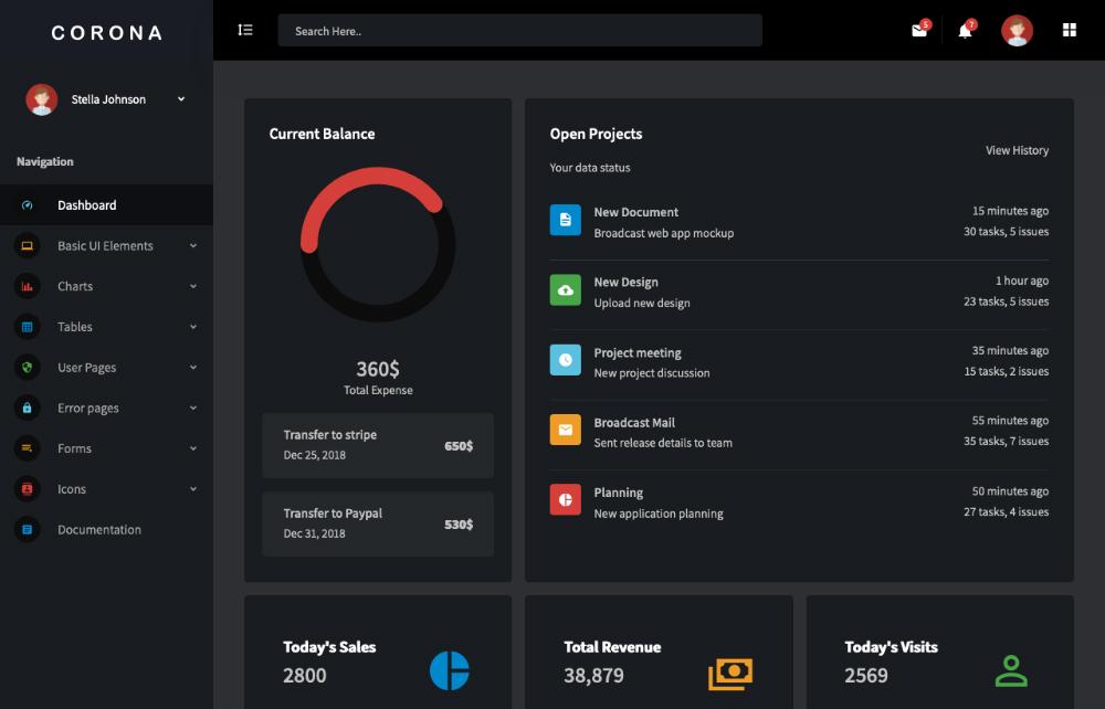 free vue js admin template dashboard