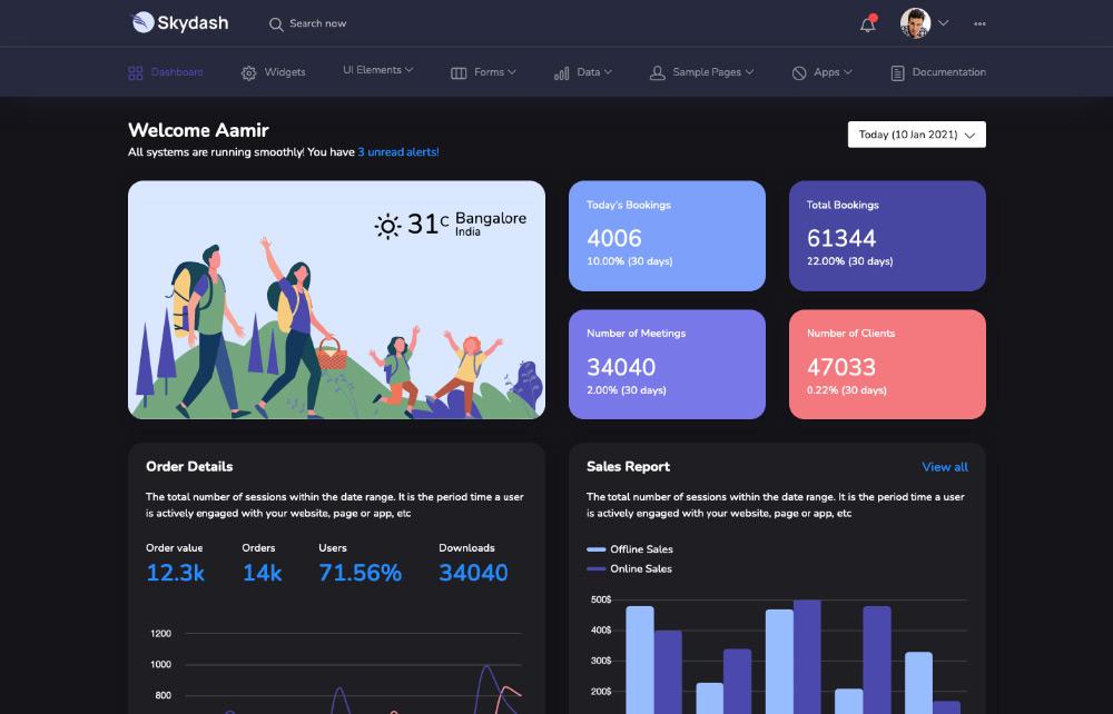 skydash horizontal dashboard - admin dashboard template
