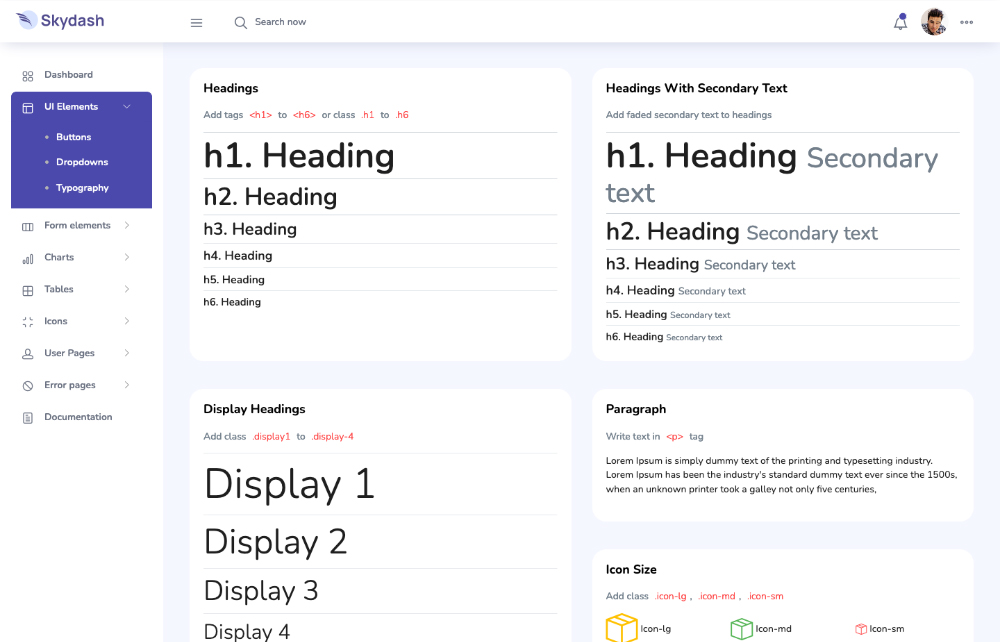 sskydash bootstrap admin template's UI elements and typography