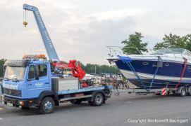 Abholung einer Formula 40 PC aus der Marina Rünthe für die Durchführung einer Lackierung in der Bootswerft Baumgart