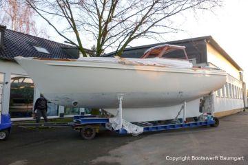 Vilm 106 beim Refit auf dem Werftgelände der Bootswerft Baumgart in Dortmund