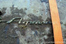 Aquarama Schriftzug der Riva Super Aquarama nach der Bergung durch die Bootswerft Baumgart