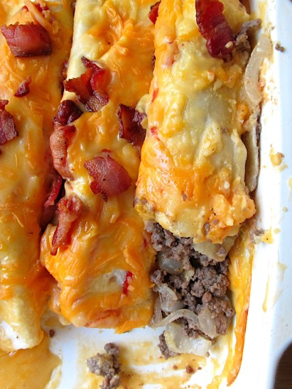 Ground Beef Enchiladas with Bacon and Cheese