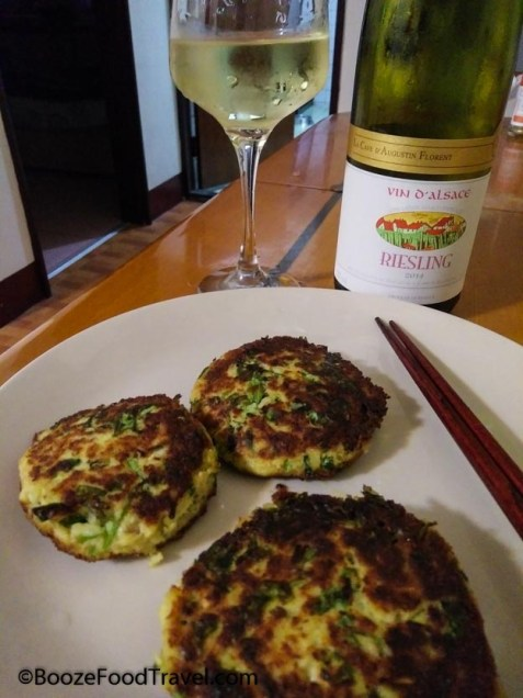 Riesling goes quite well with fish cakes